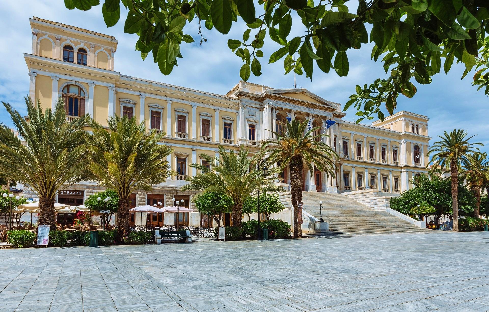 Ermupoli urząd miasta Akcja Grecja